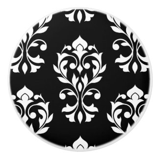 Heart Damask Lg Ptn II White on Black Ceramic Knob