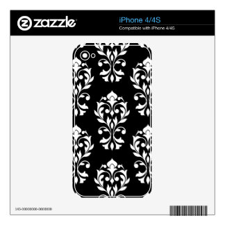 Heart Damask Lg Ptn II White on Black iPhone 4S Decal