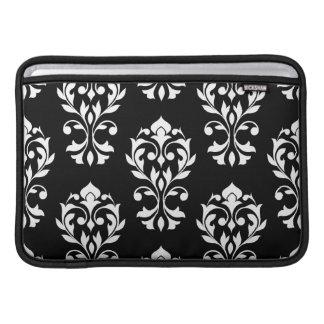 Heart Damask Lg Ptn II White on Black Sleeve For MacBook Air
