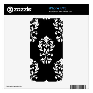 Heart Damask Lg Ptn White on Black Decals For The iPhone 4