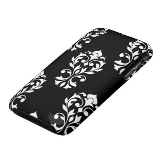 Heart Damask Lg Ptn White on Black iPhone 3 Case-Mate Case