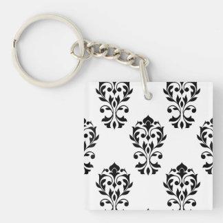 Heart Damask Ptn Black on White Double-Sided Square Acrylic Keychain