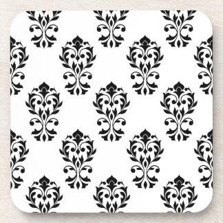 Heart Damask Ptn Black on White Drink Coaster