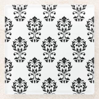 Heart Damask Ptn Black on White Glass Coaster