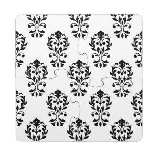 Heart Damask Ptn Black on White Puzzle Coaster