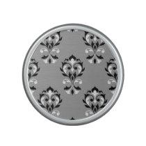 Heart Damask Ptn Black & White on Grey Bluetooth Speaker