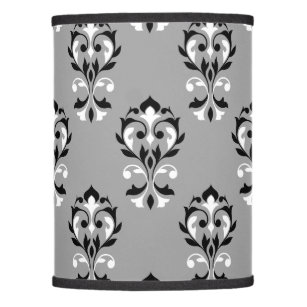 Black and white damask lamp shades zazzle heart damask ptn black white on grey lamp shade aloadofball Image collections