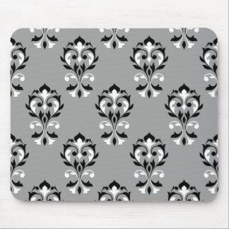 Heart Damask Ptn Black & White on Grey Mouse Pad
