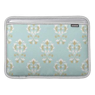 Heart Damask Ptn Cream & Gold on Blue MacBook Air Sleeve