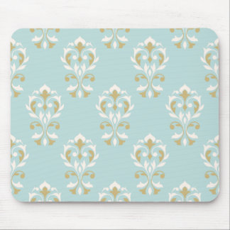 Heart Damask Ptn Cream & Gold on Blue Mouse Pad