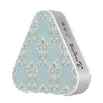 Heart Damask Ptn Cream & Gold on Blue Speaker