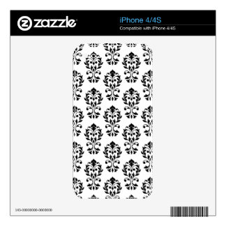 Heart Damask Ptn II Black on White Decals For The iPhone 4