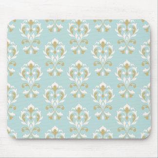 Heart Damask Ptn II Cream & Gold on Blue Mouse Pad
