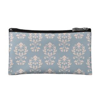 Heart Damask Ptn II Pink on Blue Cosmetic Bag