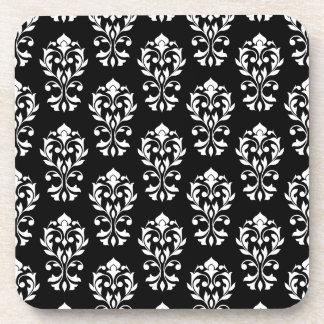 Heart Damask Ptn II White on Black Beverage Coaster