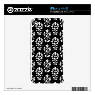 Heart Damask Ptn II White on Black iPhone 4S Skins