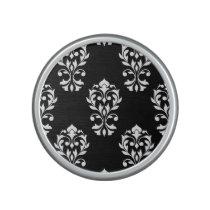Heart Damask Ptn White on Black Bluetooth Speaker