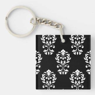 Heart Damask Ptn White on Black Double-Sided Square Acrylic Keychain