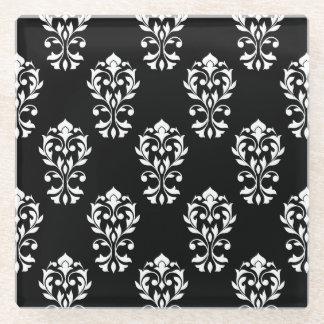 Heart Damask Ptn White on Black Glass Coaster
