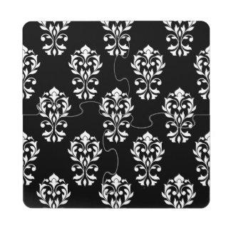 Heart Damask Ptn White on Black Puzzle Coaster