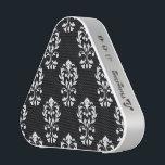 "Heart Damask Ptn White on Black Speaker<br><div class=""desc"">Leaf and scroll heart shaped damask surface pattern design with white detail on a black background.</div>"