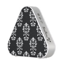 Heart Damask Ptn White on Black Speaker