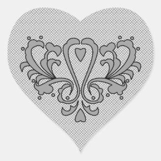 Heart Damask Set (Black And White) Heart Sticker