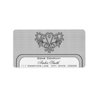 Heart Damask Set (Black And White) Label