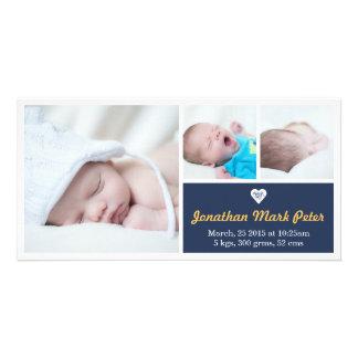 Heart Dark Blue & Yellow Birth Announcement Photo Cards
