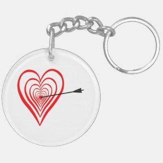 Heart Dartscheibe with arrow Keychain