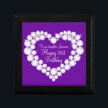 "Heart daughter 21st birthday gift box<br><div class=""desc"">Pretty diamond graphic effect on purple keepsake gift box. Perfect to showcase a extra special gift for your daughter on special 21st Birthday. Gift box reads: &quot;To our daughter Jasmine. Happy 21st Birthday&quot;,  or can be customised with your own words. Exclusive design by Sarah Trett.</div>"