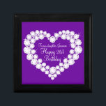 """Heart daughter 21st birthday gift box<br><div class=""""desc"""">Pretty diamond graphic effect on purple keepsake gift box. Perfect to showcase a extra special gift for your daughter on special 21st Birthday. Gift box reads: &quot;To our daughter Jasmine. Happy 21st Birthday&quot;,  or can be customised with your own words. Exclusive design by Sarah Trett.</div>"""