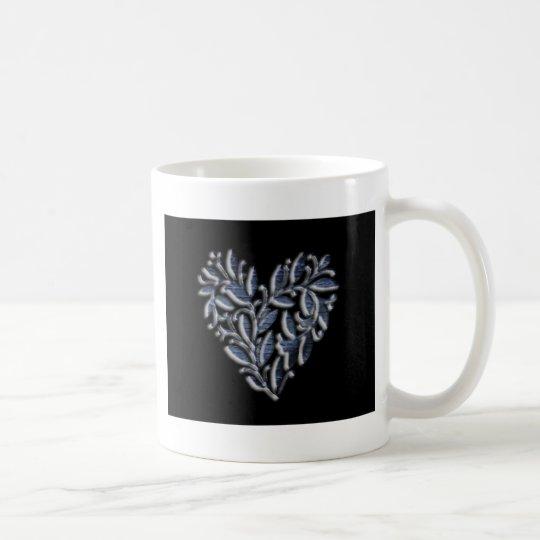 Heart design blue coffee mug