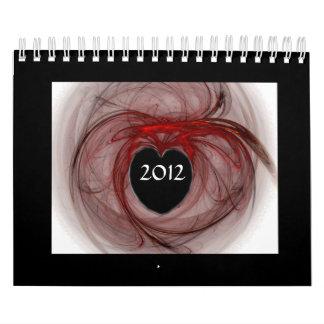 Heart Design Calendar with Fractal Art