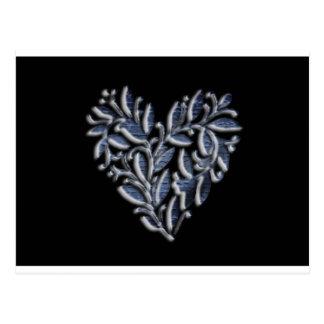 Heart design in  blue postcard