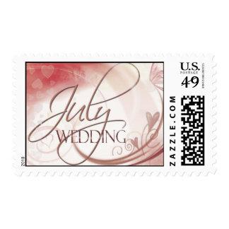 Heart design July Wedding  Postage