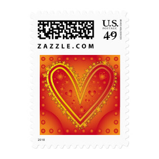 Heart design with stars postage