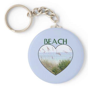 Beach Themed Heart Destin Beach Keychain
