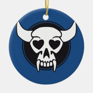 Heart devil vampire skull ceramic ornament