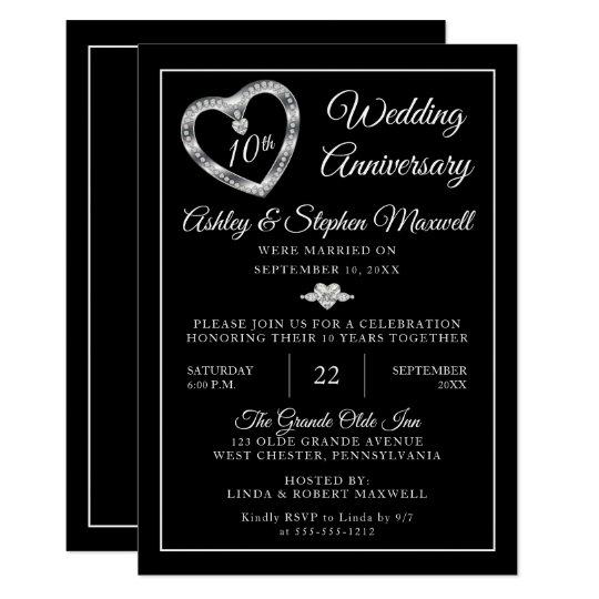 Heart Diamonds 10th Wedding Anniversary Party Invitation