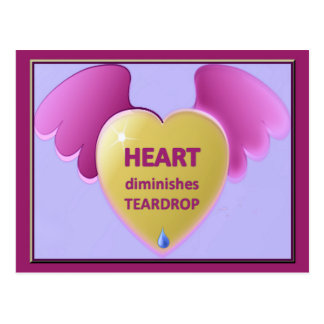 Heart diminishes Teardrop Postcard