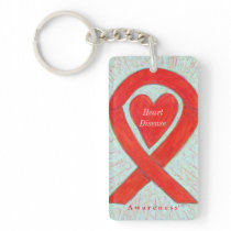 Heart Disease Angel Red Awareness Ribbon Keychain