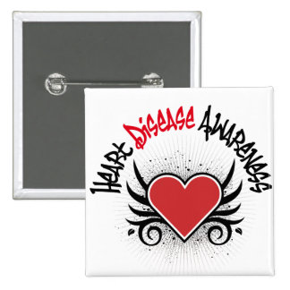 Heart Disease Awareness Grunge 2 Inch Square Button