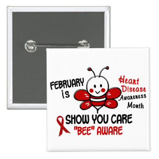 Heart Disease Awareness Month Bee 1.1 2 Inch Square Button