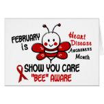 Heart Disease Awareness Month Bee 1.1 Greeting Cards