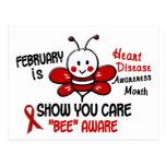 Heart Disease Awareness Month Bee 1.1 Postcards