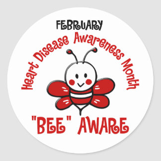 Heart Disease Awareness Month Bee 1.2 Classic Round Sticker