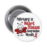 Heart Disease Awareness Month Bee 1.3 Pinback Buttons