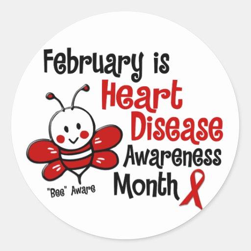 Heart Disease Awareness Month Bee 1.3 Classic Round Sticker