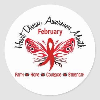 Heart Disease Awareness Month Butterfly 3.2 Classic Round Sticker